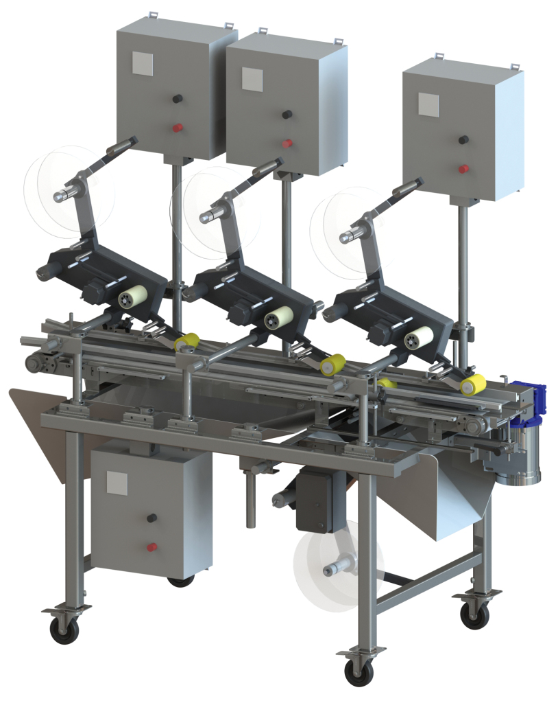 Double Belt Labeling Conveyor CLABD 4 HEADS
